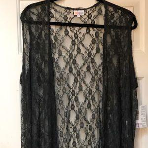 LuLaRoe large Joy vest lace NWT charcoal black.